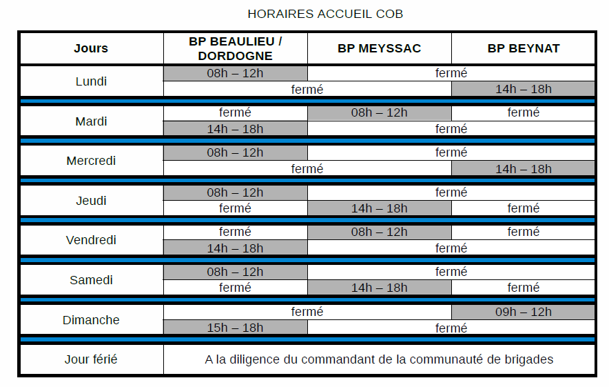 horaires gendarmerie
